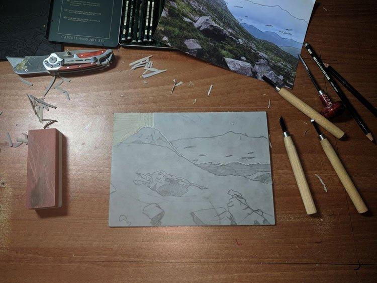 Cutting lino print