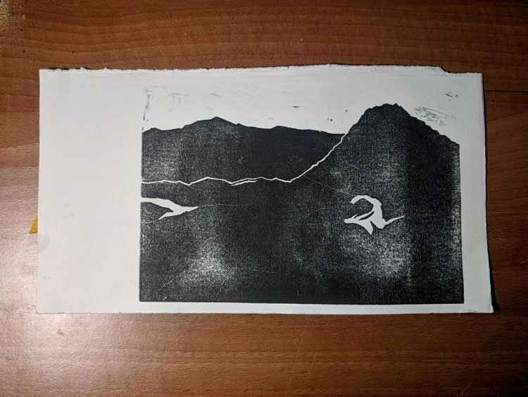 Proof of lino print from Wales