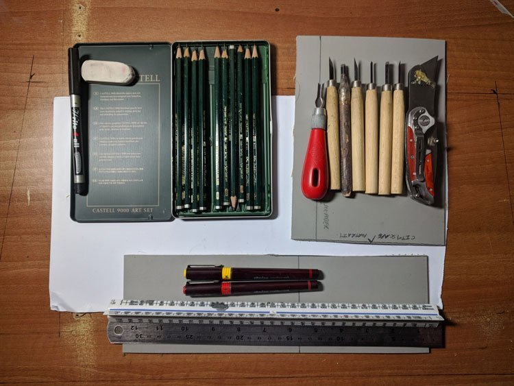 Lino Printing Tools and Materials