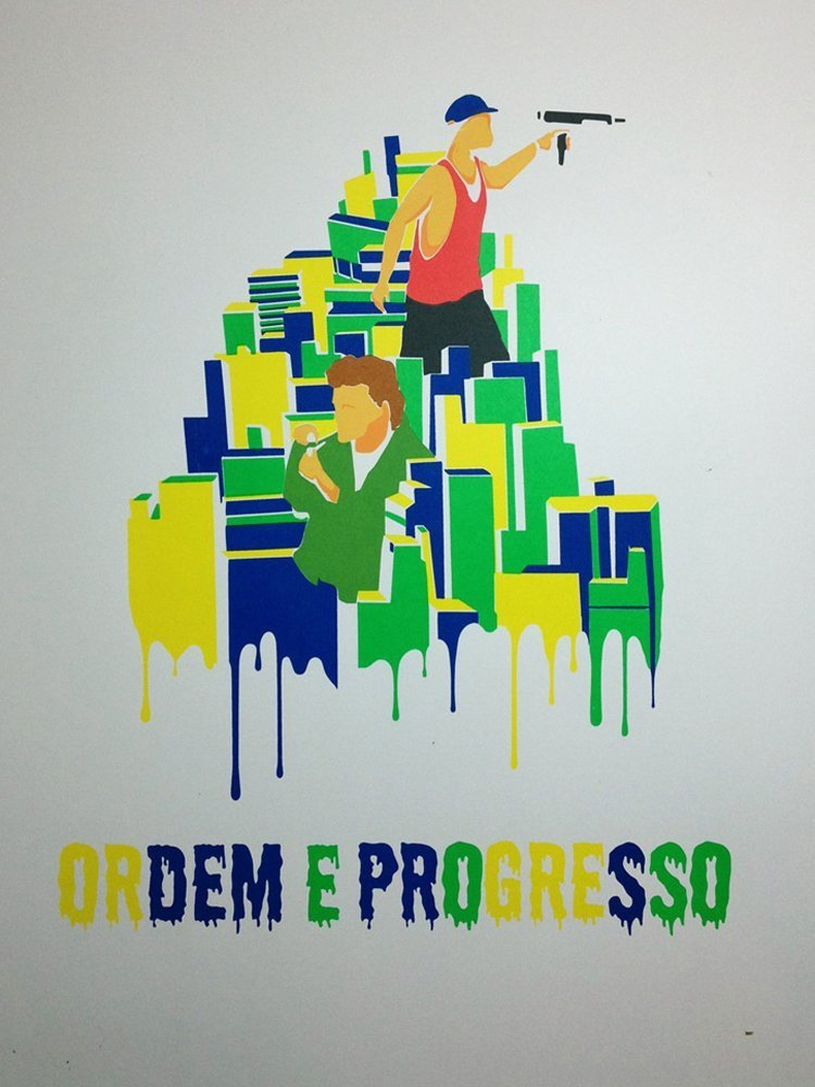 Screen Printing Ordem E Progresso No Black Layer