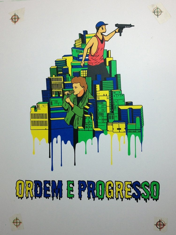 Screen Printing Ordem E Progresso With Black Layer