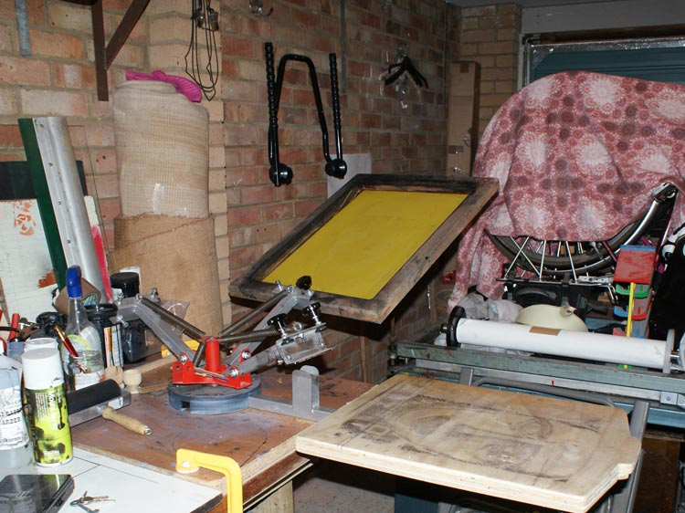 Basic T-Shirt printing setup with cheap 4 colour carousel